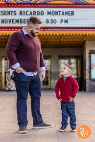Father and son looking at each other