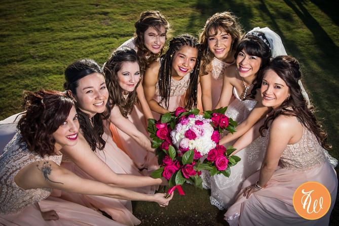 Bride and bridesmsaids