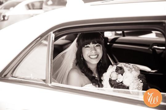 Bride arriving to ceremony