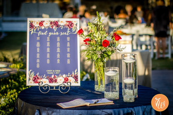 Reception seating chart, flowes and candles