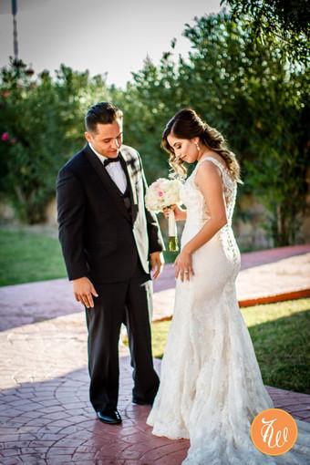 """First look"" bride walking towards groom sequence #7"