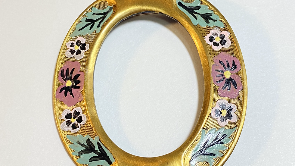 Hand-Painted Brass Oval Floral Brooch