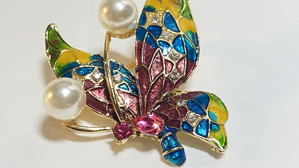 Multi Color Pearl Butterfly Brooch