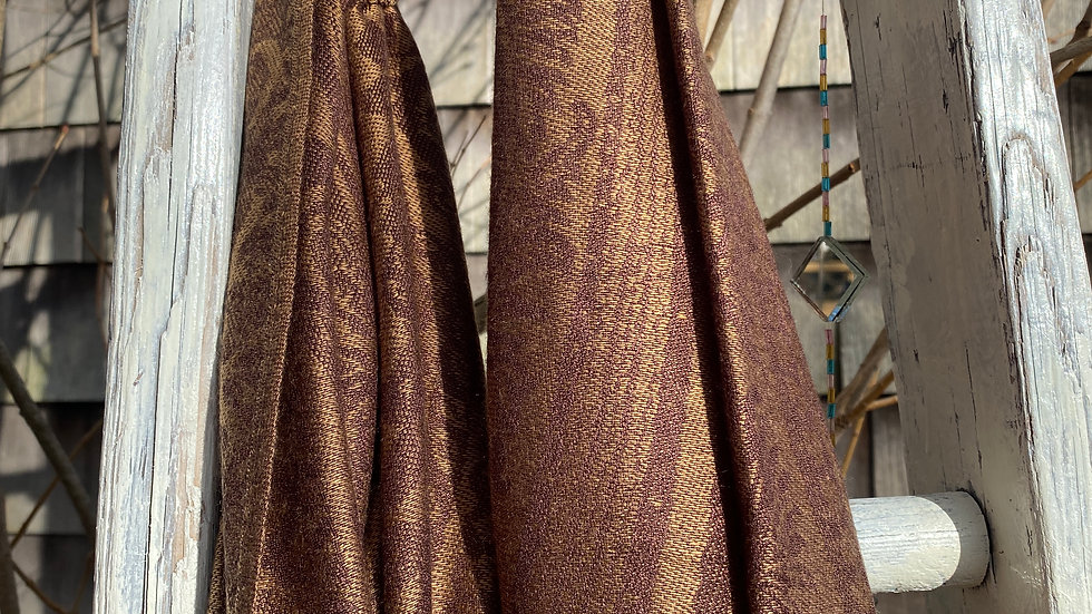 Brown and Gold Silk Shawl