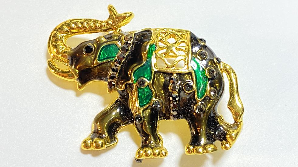 Gold Green Elephant Brooch