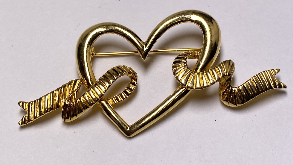 Ribbon Heart Gold