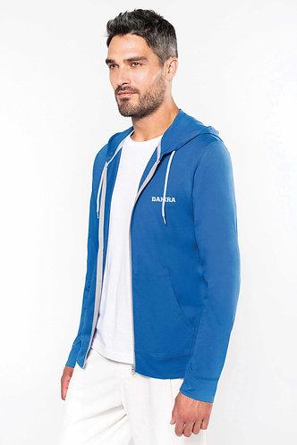 Men Contrast Hooded Full Zip Sweatshirt