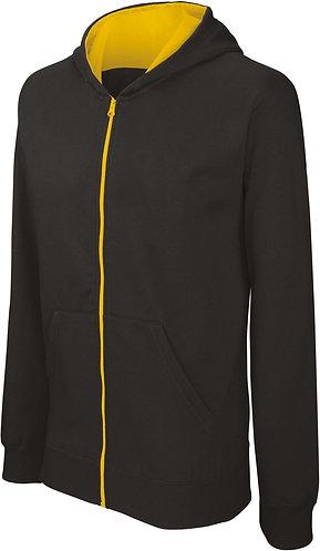 Kids Full Zip Hooded Sweatshirt Black/Yellow
