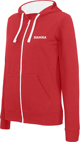 Women Contrast Hooded Full Zip Sweatshirt Red/White