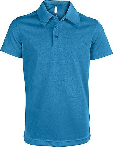 Kids Short-Sleeved Polo Shirt Aqua Blue