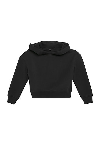 Girls Cropped Sweat Hoody Black