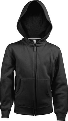 Kids Full Zip Hooded Sweatshirt B Black