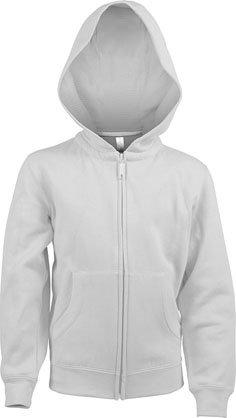 Kids Full Zip Hooded Sweatshirt B White