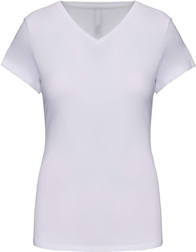 Women Short Sleeved V-Neck T-Shirt White
