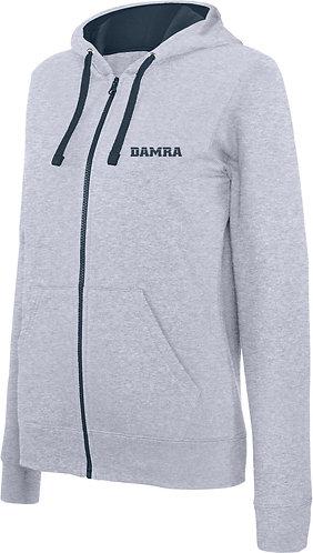 Women Contrast Hooded Full Zip Sweatshirt Oxford Grey/Navy