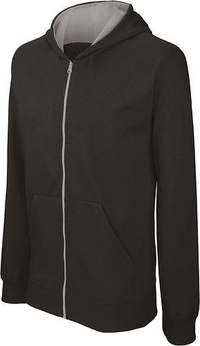 Kids Full Zip Hooded Sweatshirt Black/Fine Grey