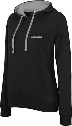 Women Contrast Sport Hoody Black/Fine Grey