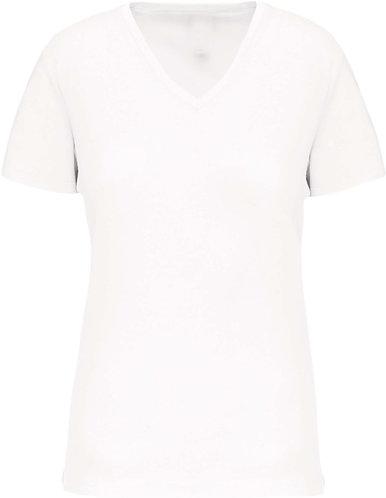 Women BIO V-Neck T-Shirt White
