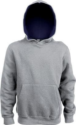 Kids Contrast Hooded Sweatshirt Oxford Grey/Navy