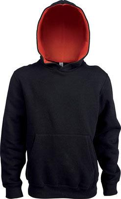 Kids Contrast Hooded Sweatshirt Black/Red