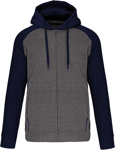 Men Two-Tone Zipped Hooded Fleece Jacket