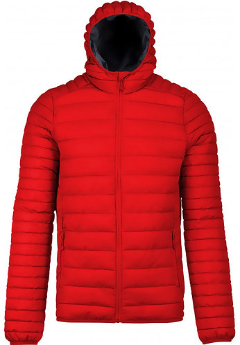 Men Lightweight Hooded Padded Jacket Red
