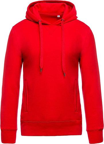 Men Organic Hooded Sweatshirt Red