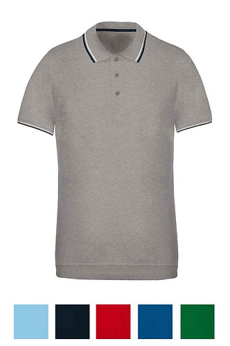Men Shortsleeved Polo Shirt With Rib Contrast