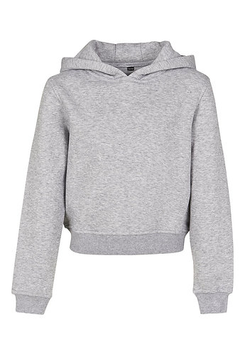Girls Cropped Sweat Hoody Heather Grey
