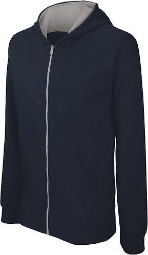 Kids Full Zip Hooded Sweatshirt Navy/Fine Grey