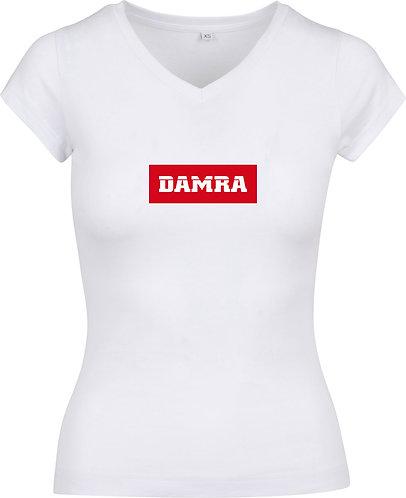 Women T-shirt Background Red White