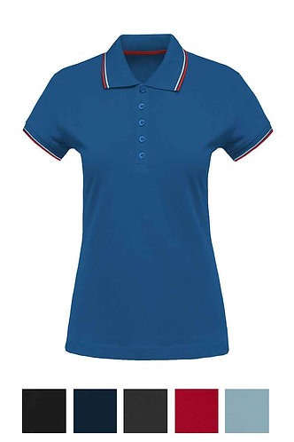 Women Shortsleeved Polo Shirt With Rib Contrast