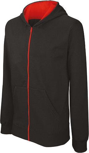 Kids Full Zip Hooded Sweatshirt Black/Red
