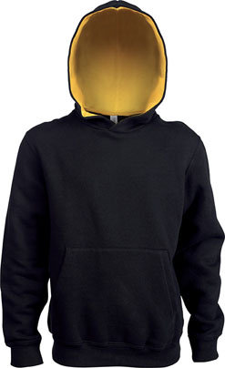 Kids Contrast Hooded Sweatshirt Black/Yellow