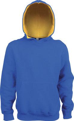 Kids Contrast Hooded Sweatshirt Royal Blue/Yellow