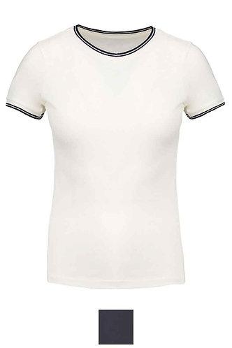 Women Piqué Crew Neck T-Shirt