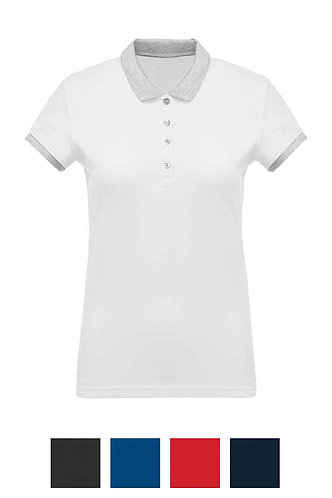 Women Two-Tone Piqué Polo Shirt