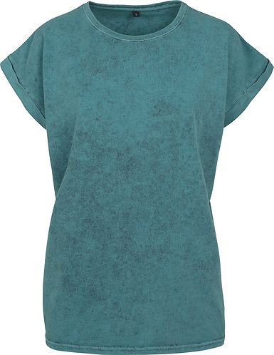 Women Acid Washed Tee Teal/Black