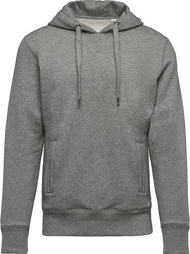 Men Organic Hooded Sweatshirt Grey Heather