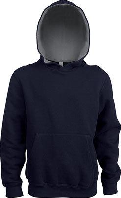 Kids Contrast Hooded Sweatshirt Navy/Fine Grey
