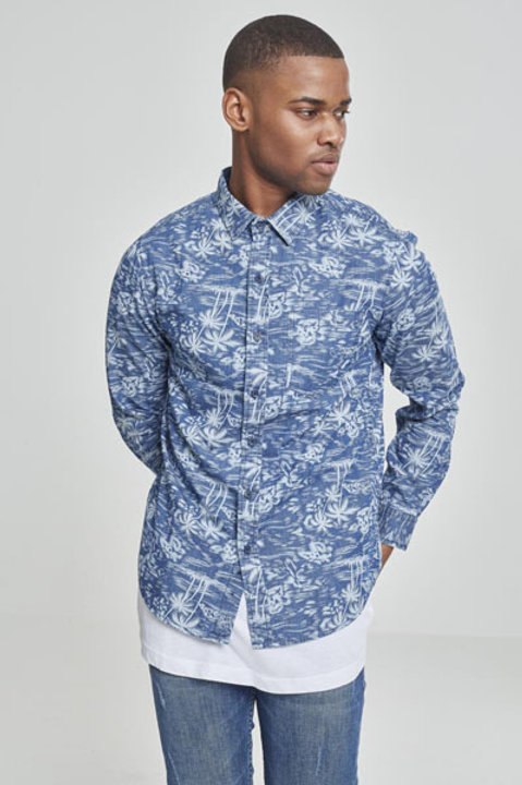 TB Printed Palm Denim Shirt