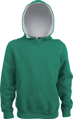 Kids Contrast Hooded Kelly Green/White
