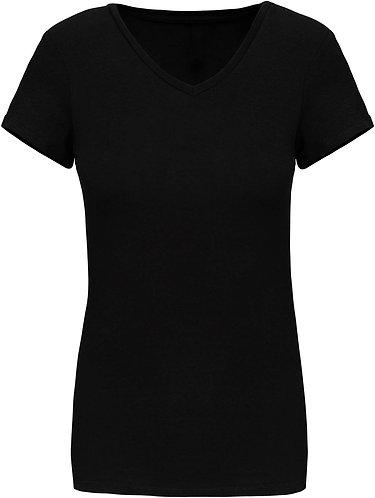 Women Short Sleeved V-Neck T-Shirt Black