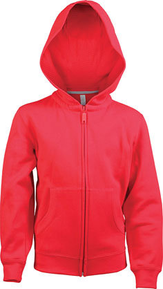 Kids Full Zip Hooded Sweatshirt B Red