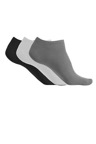 Microfibre Trainer Socks Black/White/Grey