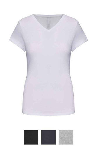 Women Short Sleeved V-Neck T-Shirt