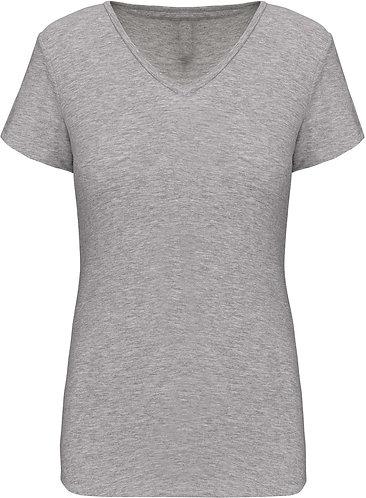Women Short Sleeved V-Neck T-Shirt Light Grey