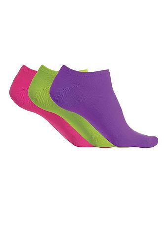 Microfibre Trainer Socks Violet/Green/Pink