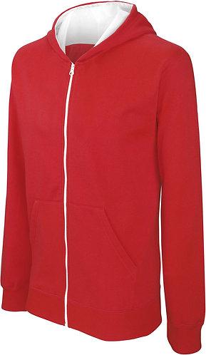 Kids Full Zip Hooded Sweatshirt Red/White