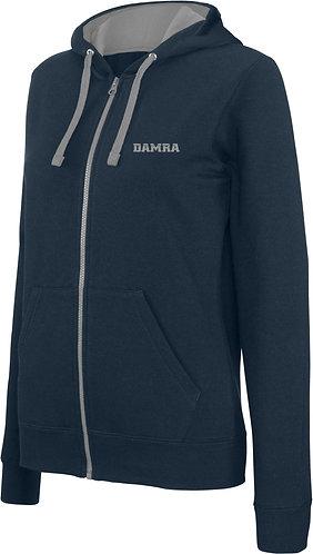 Women Contrast Hooded Full Zip Sweatshirt Navy/Fine Grey